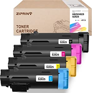 ZIPRINT Compatible Toner Cartridge Replacement for Dell 2825 H625 H825 S2825 for H625CDW H825CDW S2825CDN (Black, Cyan, Magenta, Yellow, 4-Pack)