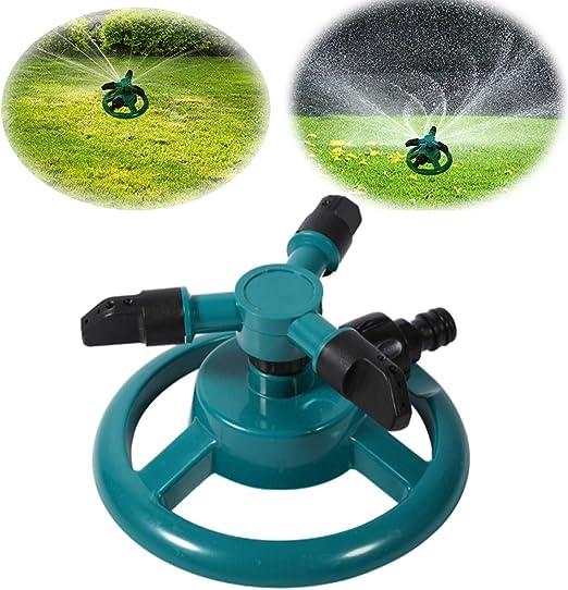 SG Rociador de Césped Aspersor de Riego, Automático de Agua Giratorio de 360 Grados Aspersor de Agua para Jardín Sistema de Aspersores de Agua con 3 Rociadores de Brazos Ajustable: Amazon.es: Jardín