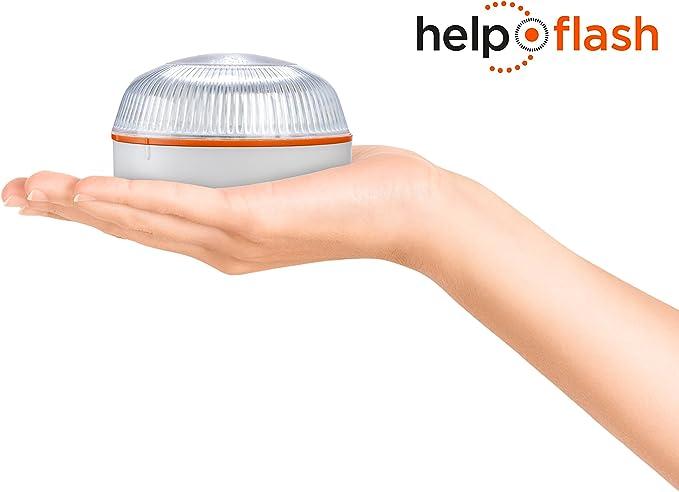 Help Flash - Luz de emergencia autónoma - Señal V16 de preseñalización de peligro homologada, autorizada por la DGT
