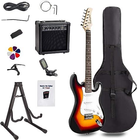 Display4top Kit de guitarra eléctrica Amplificador de 20 vatios, soporte de guitarra, bolsa, púa de guitarra, correa, cuerdas de repuesto, sintonizador, estuche y cable (Sunburst): Amazon.es: Instrumentos musicales