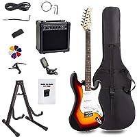 Display4top Kit de guitarra eléctrica Amplificador de 20 vatios, soporte de guitarra, bolsa, púa de guitarra, correa, cuerdas de repuesto, sintonizador, estuche y cable (Sunburst)