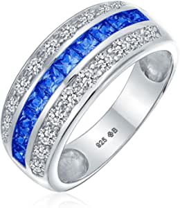 Art Deco Pink Blue Clear AAA Cubic Zirconia Half Eternity Channel Set Princess Cut CZ Dome 3 Row Wide Statement Wedding Band Ring For Women .925 Sterling Silver Comfort Fit 8MM