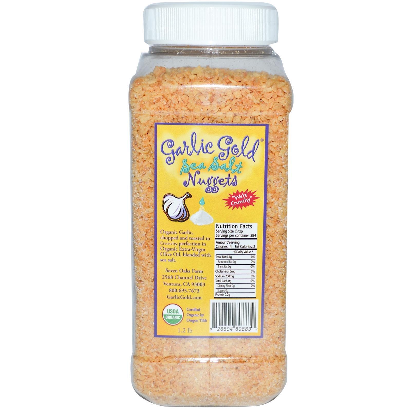 UDSA Organic Certified Garlic Gold, Garlic Nuggets with Sea Salt 1 Pound Container