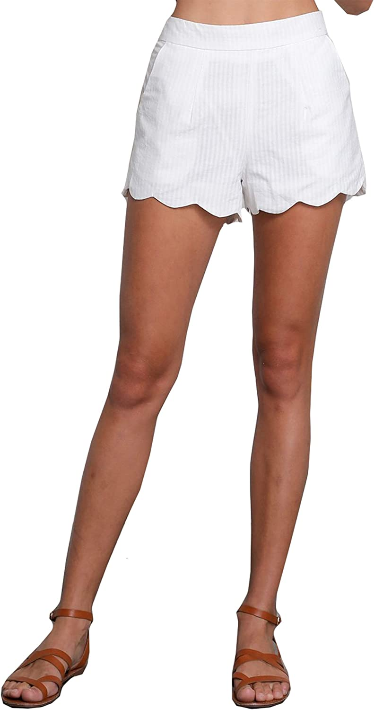 Wishlist Womens Striped Scallop Hem Mini Shorts with Pockets