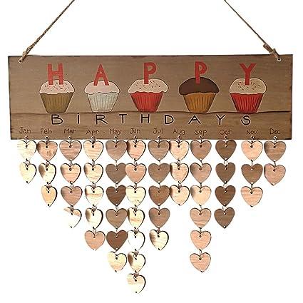 Amazon Com Birthday Reminder Wooden Hanging Calendar Plaque Board