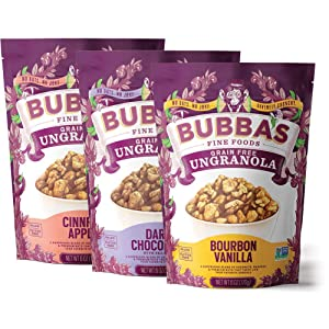 Bubba's Foods Grain Free Paleo Granola Variety Pack, 6oz (Pack of 3) | Gluten Free, Low Sugar Breakfast Cereal