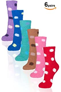 Basico -Valentines Day Gift - Soft Warm Microfiber Fuzzy Winter Socks Crew 6 Pairs