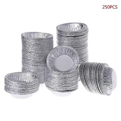 Gjyia 250 Unids Desechable Papel de Aluminio Hornear Huevo Tarta Molde Molde Cupcake Caso Hoja Molde