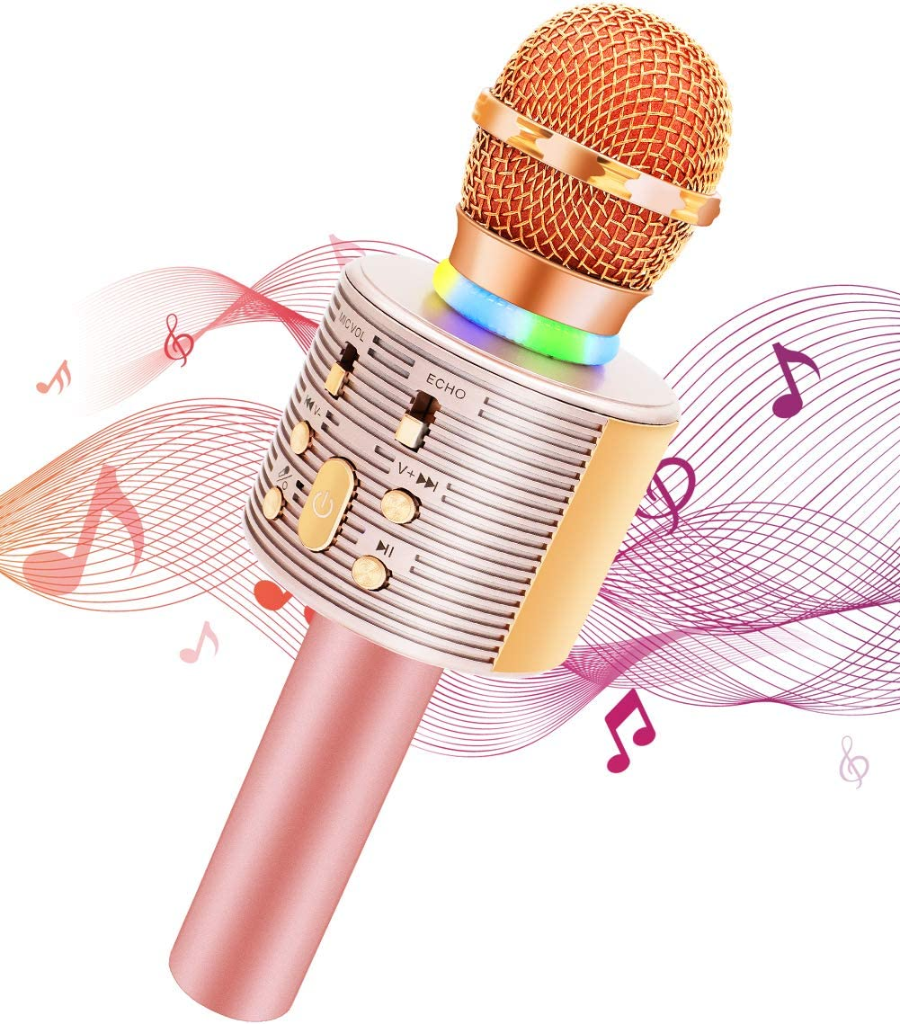 Wireless Karaoke Microphone with Speaker Pro Rose Gold 3-in-1 Portable Handheld Karaoke Mic Home Party Birthday Gifts for Kids Speaker Machine for Android// PC //phone