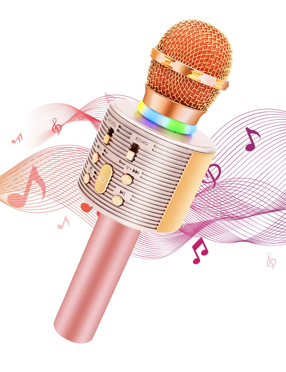 Wireless Karaoke Microphone with Speaker Pro, 3-in-1 Portable Handheld Karaoke Mic Home Party Birthday Gifts for Kids Speaker Machine for Android/ PC /phone(Rose Gold)