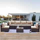 Kullavik Patio Furniture 7 Pieces Outdoor Sectional PE Rattan Sofa Set Brown Manual Wicker Patio Conversation Set with 6 Sand
