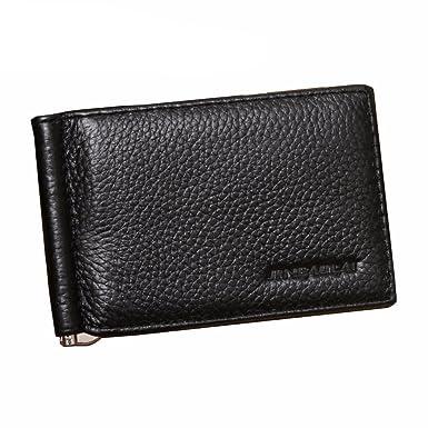 Men Genuine Leather Money Clip Wallets Fashion Slim Money Clip
