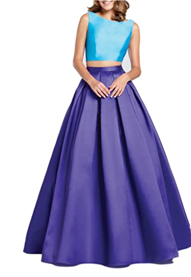 Promworld Womens Ball Gown Satin Long Blue 2 Piece Prom Dresses Blue US2