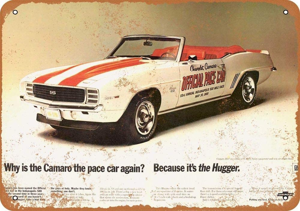 """1968 Chevy Camaro /""""the hugger/"""" Vintage Reproduction Metal sign 8 x 12"""