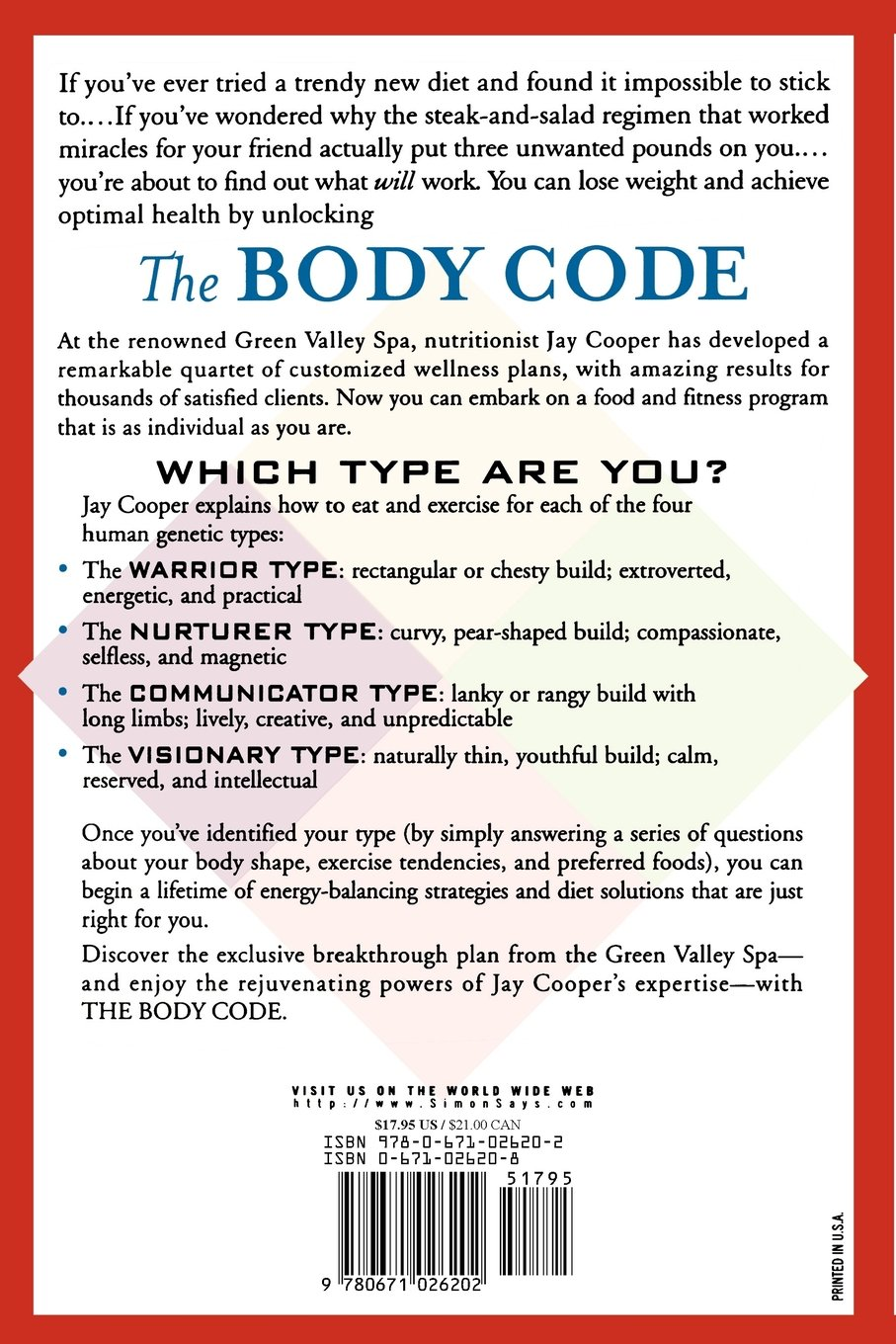 The Body Code A Personal Wellness And Weight Loss Plan At World Famous Green Valley Spa New York Kathryn Lance Jay Cooper 9780671026202