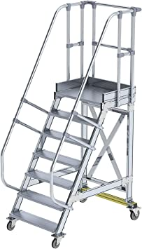 GÜNZBURGER STEIGTECHNIK Escalera de plataforma de aluminio, móvil, 60°, 800x7: Amazon.es: Bricolaje y herramientas