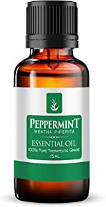 Pure Peppermint Essential Oil (15 ml) Food Safe & Highest Menthol Content, Refreshing Minty Aroma, Convenient Dropper Cap Bottle