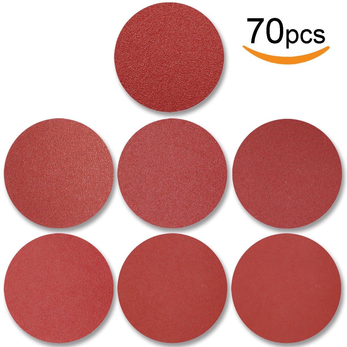 70pcs PSA Sanding Discs 6 Inch, 120/180/240/320/400/600/800 Grit Adhesive Backed for Random Orbital Sander by V-story