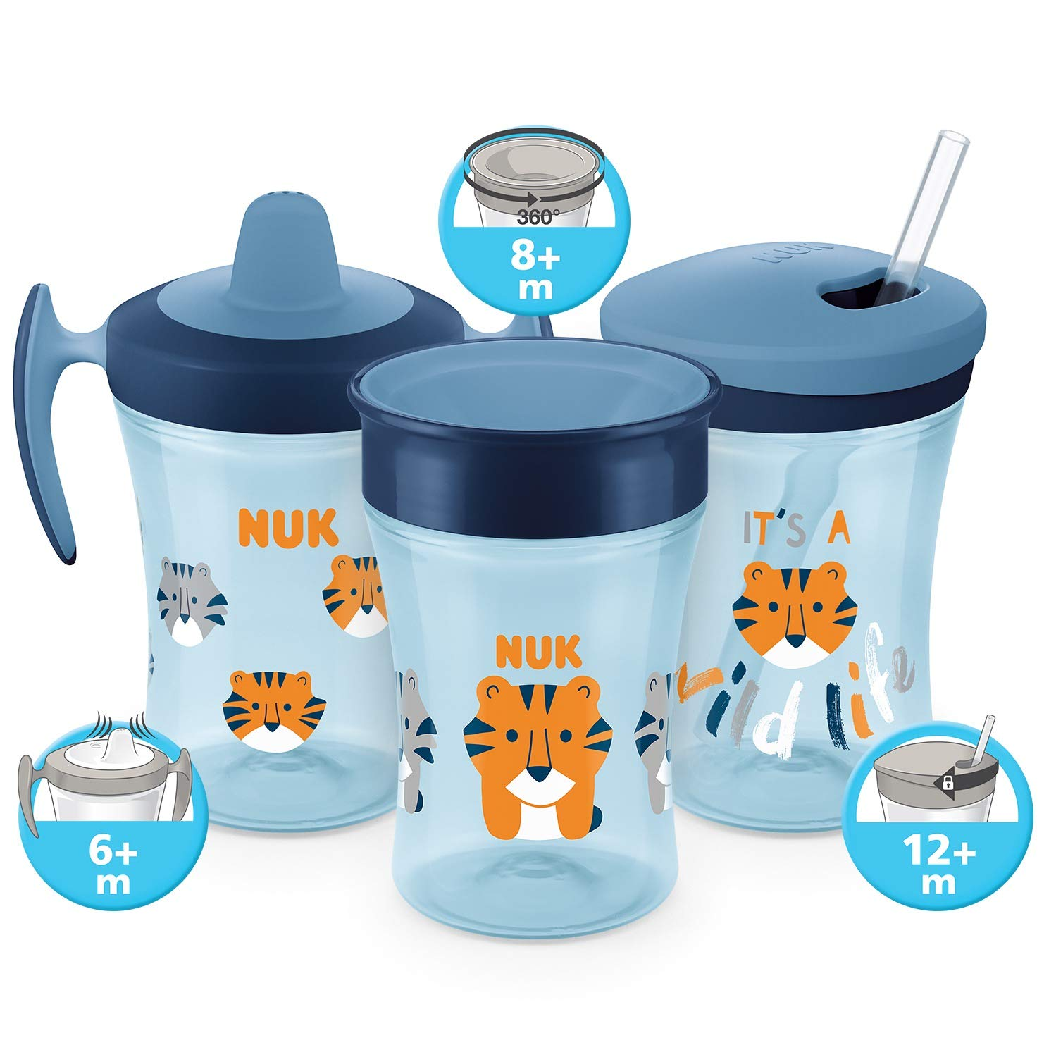 Blue NUK Magic Cup Sippy Cup BPA-Free 230ml 360/° Anti-Spill Rim Tiger 8+ Months