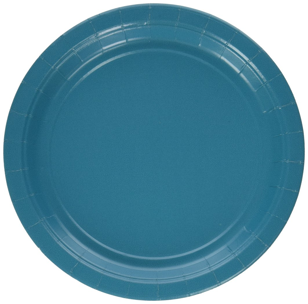 Amscan Durable Plain Round Eco Party Plates Tableware, Peacock Blue, Paper, 9'', Pack of 24 Party Supplies