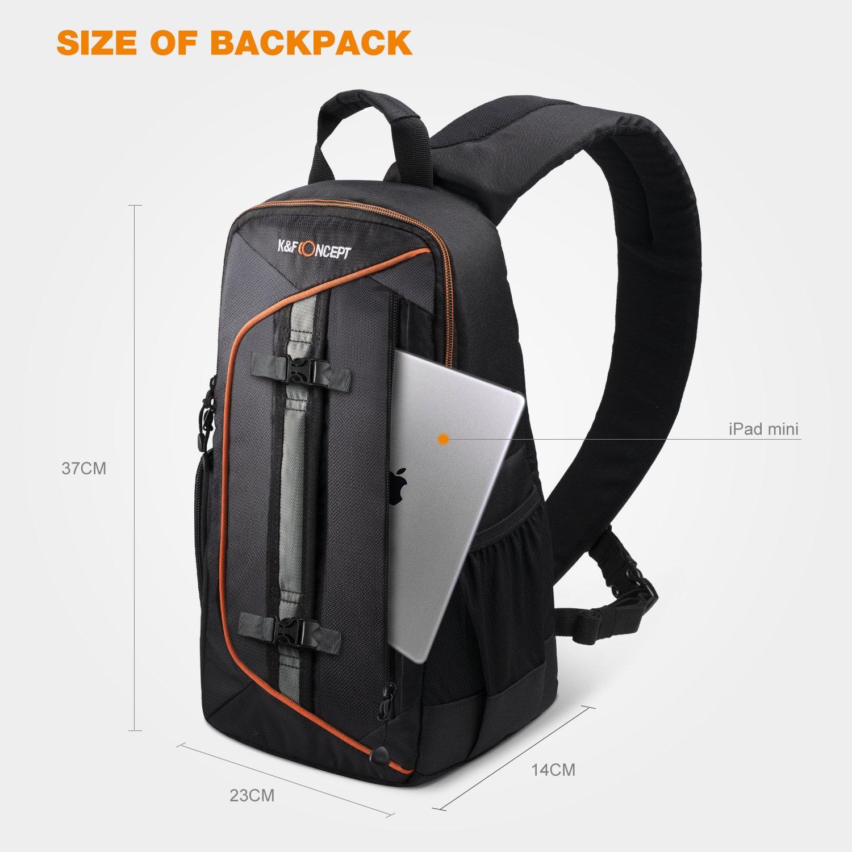 K/&F Concept Zaino Fotografico Zaino Reflex Professionale Impermeabile Leggero Multifunzionale Piccolo per DSLR Canon Nikon Sony Tablet Nero