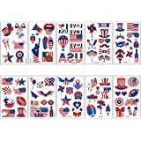 10 Sheets Independence Day Temporary Tattoo Stickers July 4th Body Art Decoration American National Flag Tattoos for Face Arm