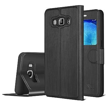 samsung flip phone 2016. galaxy j5 case, savfy smart s view cover flip folio window case for samsung phone 2016