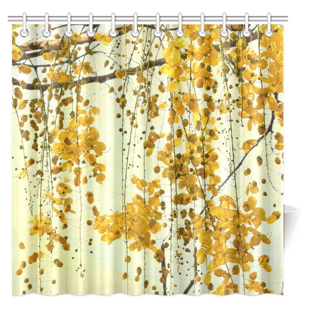Thailand Native Brilliant Yellow Flowers Shower Curtain Cassia Fistula Golden Tree Seeds Flower Fabric Bathroom With Hooks
