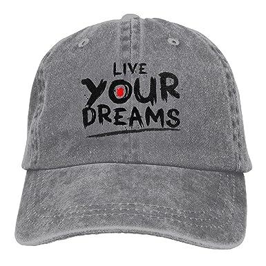 Huayaa Hat Live Your Dreams Denim Skull Cap Cowboy Cowgirl