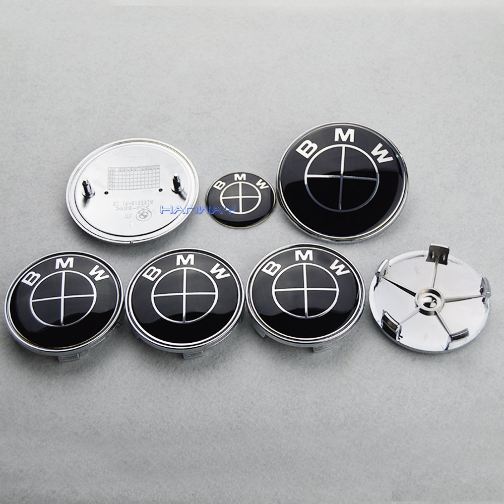 Hanway all Black BMW Emblem Logo Badge Set 82mm Hood Emblem 82mm Trunk Emblem 45mm Steering Wheel Emblem 68mm Wheel Center Caps 7pcs Set OEM