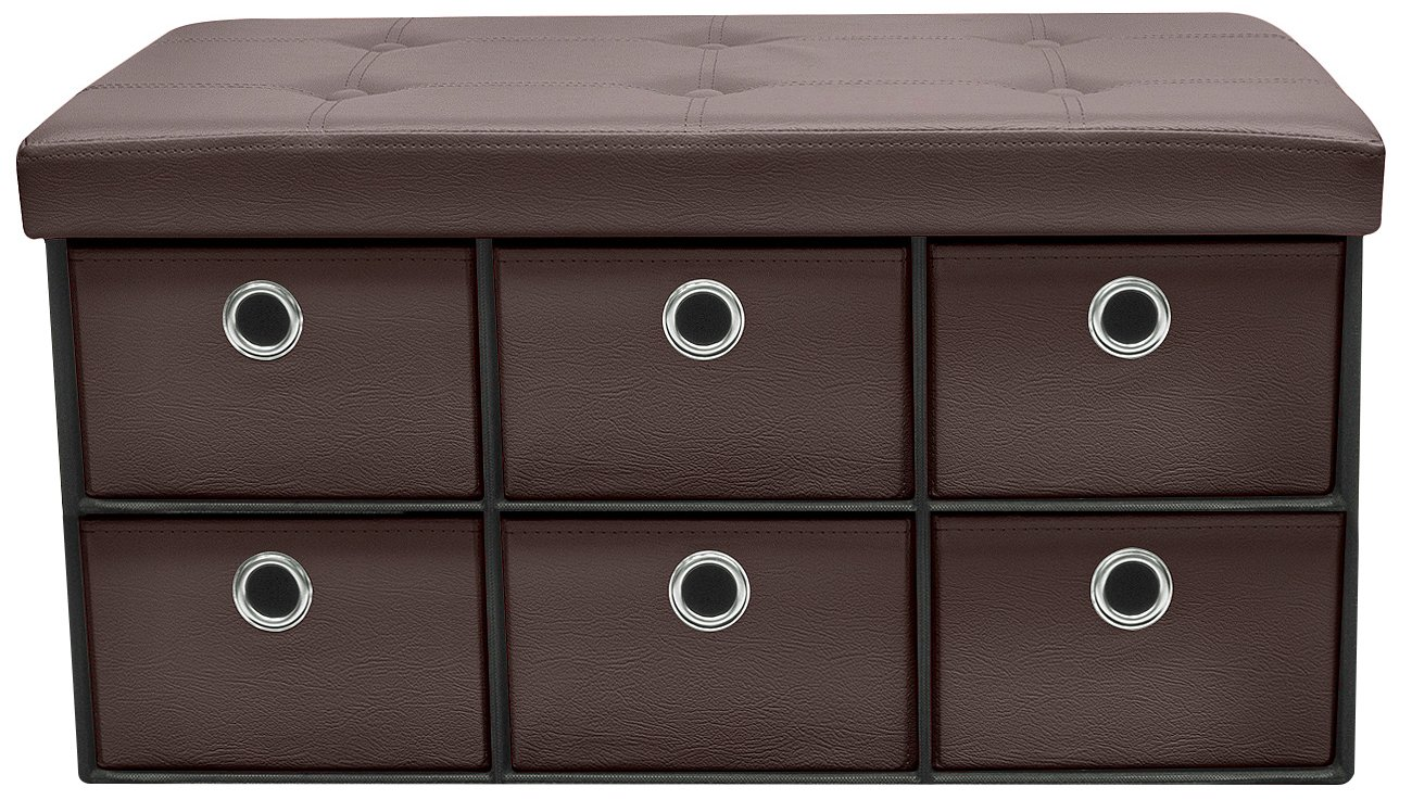 Sorbus Storage Ottoman Bench with Drawers – Collapsible Folding Bench Chest with Cover – Perfect for Entryway, Bedroom, Cubby Drawer Footstool, Contemporary Faux Leather (Chocolate)