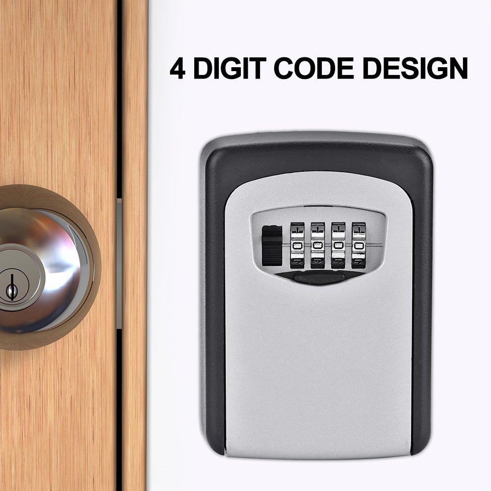 4 Digit Password Keys Holder Storage Wall Mount Key Safety Code Lock Box Case