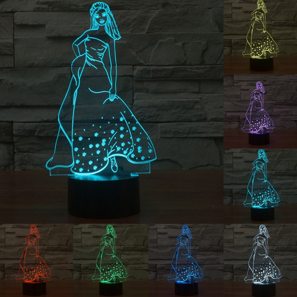 ZTOP Optical Illusion Acrylic 3D Lighting Nightlight Glow for Kids LED Lights Multicolored USB Powered Light Desk Lamps Yoga, Office, Spa, Bedroom,Baby Room(Princess)