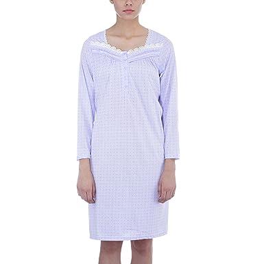 85497a66dd Ezi Women s Long Sleeve Dainty Comfy Cotton Nightgown at Amazon ...