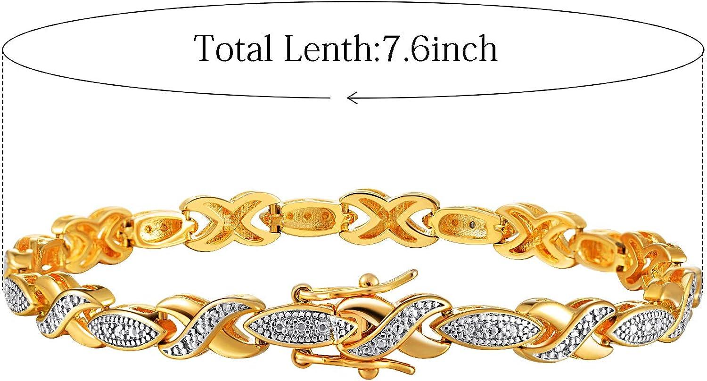 DwearBeauty 18K Tennis Bracelet Round Cubic Zirconia,Gold Tennis Bracelet for Women and Men