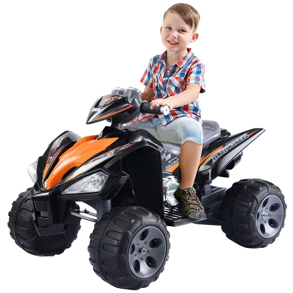 amazoncom giantex kids ride on atv quad 4 wheeler electric toy car 12v battery power black toys games
