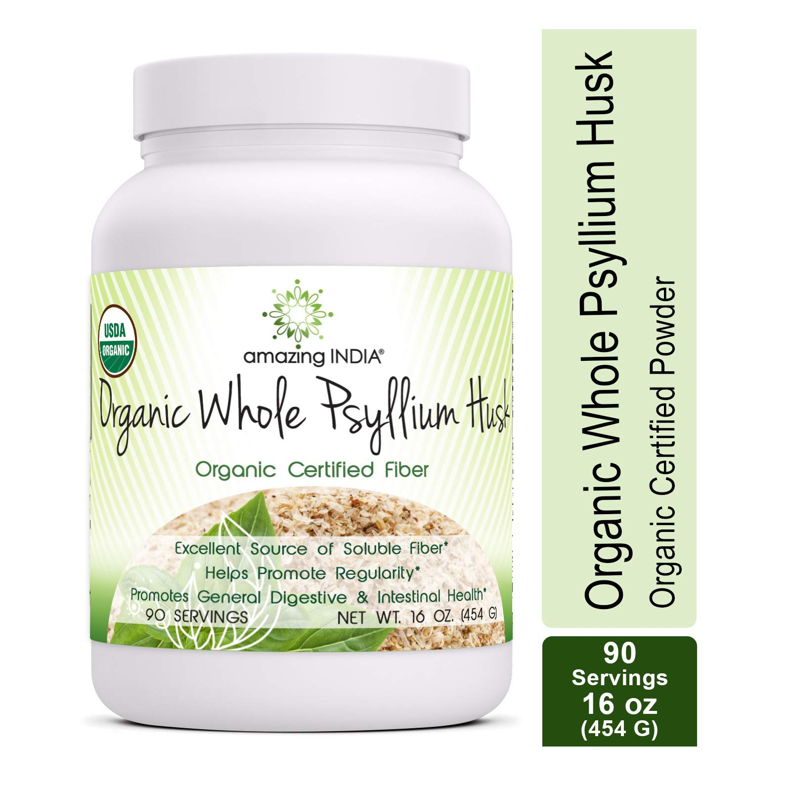 Amazing India USDA Certified Organic Whole Husk Psyllium - 16 Oz Powder (Non-GMO) - Excellent Source of Soluble Fiber - Helps Promote Regularity - Promotes General Digestive & Intestinal Health by Amazing India