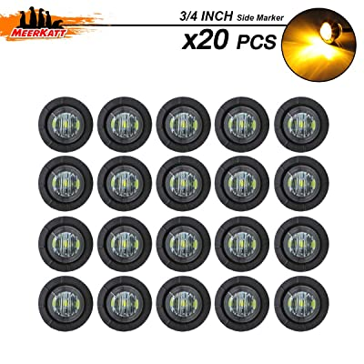 Meerkatt (Pack of 20) 3/4 Inch Mini Round Smoked Lens Amber LED Clearance Lamp SMD Bullet Side Marker Indicator Light Waterproof Pickup Marine Bus Caravan Train Tow Trailer Truck Grommets 12V DC: Automotive