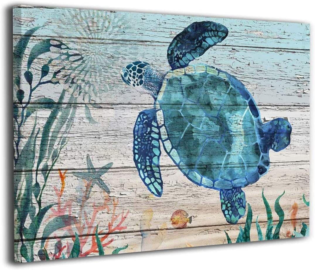 Blue Sea Turtle Bathroom Decor Teal Painting Canvas Wall Art Coastal Beach Theme Artwork Living Room Decor Framed ready to hang 8X12 inch