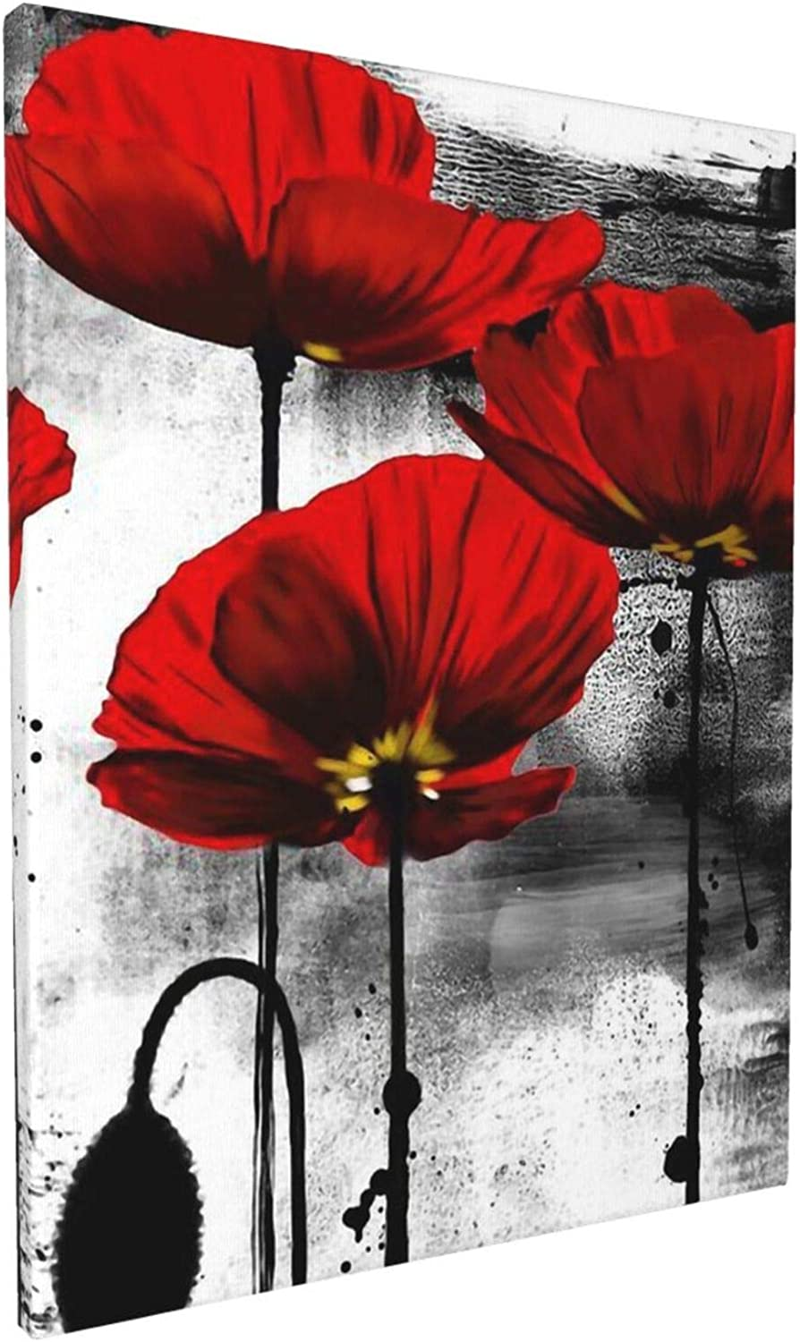 Beautiful Red Poppy Flower Wall Art Paintings Living Room Decor Canvas Prints Wooden Frame for Bedroom Office Home Decorations