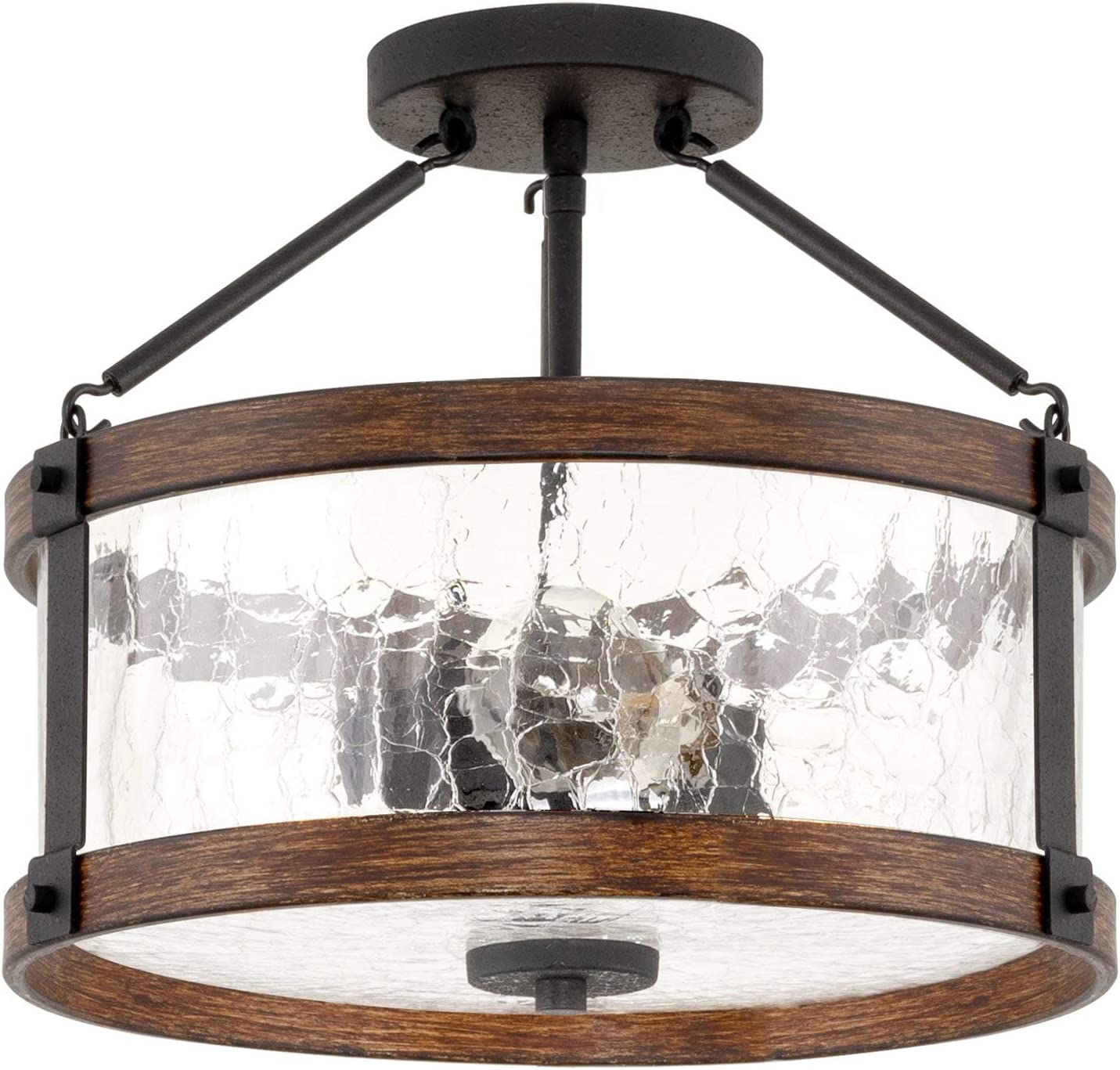"Kira Home Hadley 14"" 3-Light Modern Farmhouse Semi-Flush Mount Ceiling Light Fixture + Crackled Glass Shade, Textured Black + Wood Style Walnut Finish"