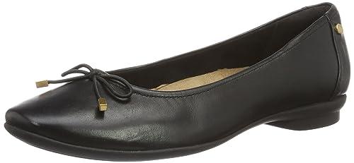 Damen Candra Light Geschlossene Ballerinas, Schwarz (Black Leather), 39.5 EU Clarks