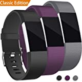 3 Pack For Fitbit Charge 2 Bands, Hotodeal Replacement Wristbands Soft Silicone Accessory Strap for Fitbit Charge2 HR Tracker, Buckle, Black+Purple+Grey, Small