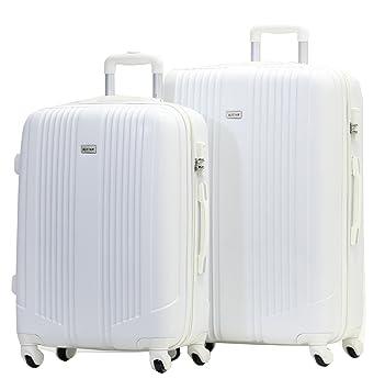 Set de Maleta Grande y Mediana - Trole ALISTAIR AIRO - ABS extremista Ligero - 4 ruedas - Blanco: Amazon.es: Equipaje