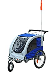 PawHut Durable Pet Dog Bicycle Trailer Stroller Jogger with Suspension Blue/Grey