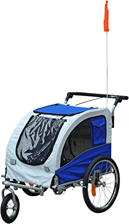 Aosom Elite II Dog Bike Trailer 2-in-1 Pet Stroller - Most Convenient Dog Stroller & Trailer