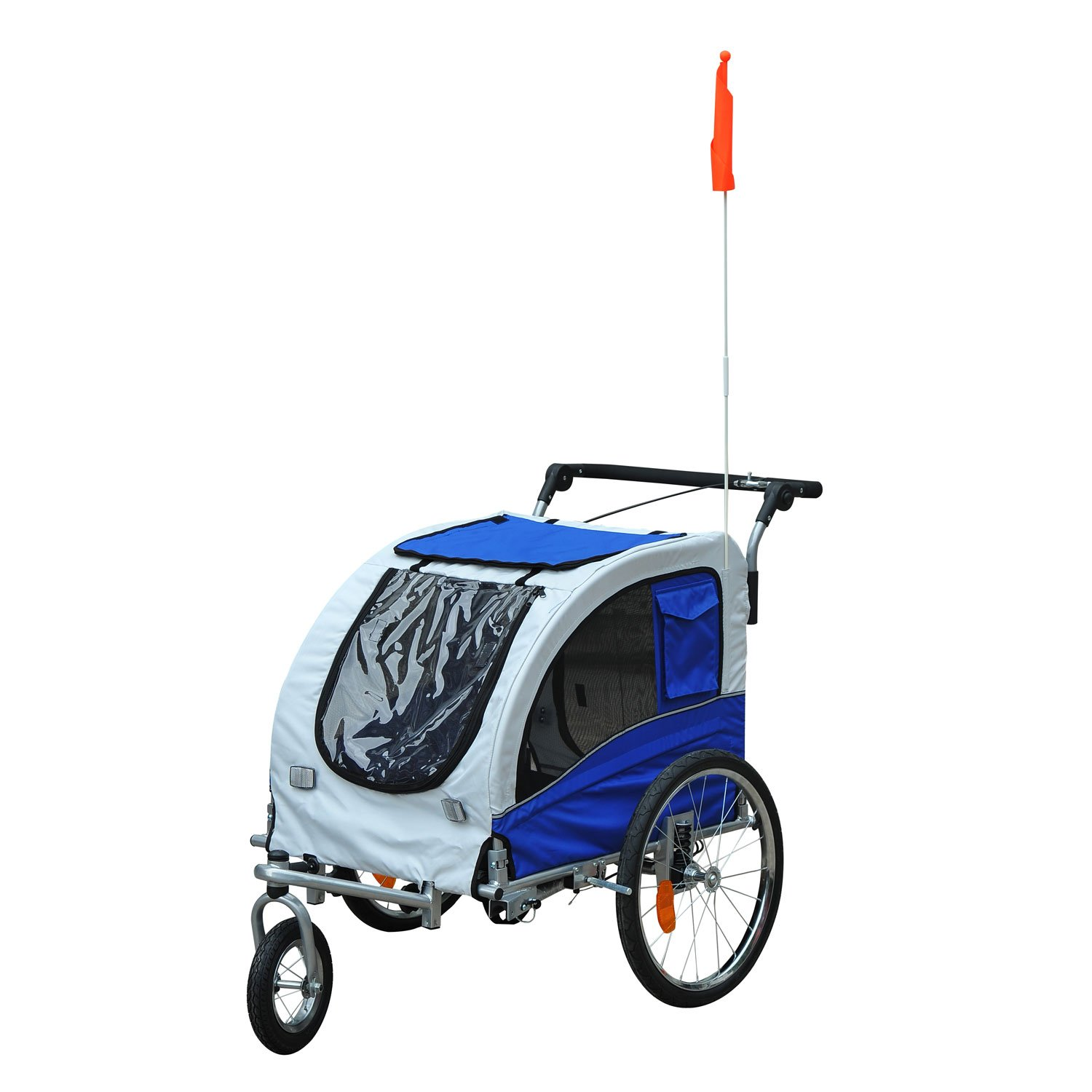 Aosom Elite II 2-in-1 Pet Dog Bike Trailer and Stroller with Suspension and Storage Pockets - Blue