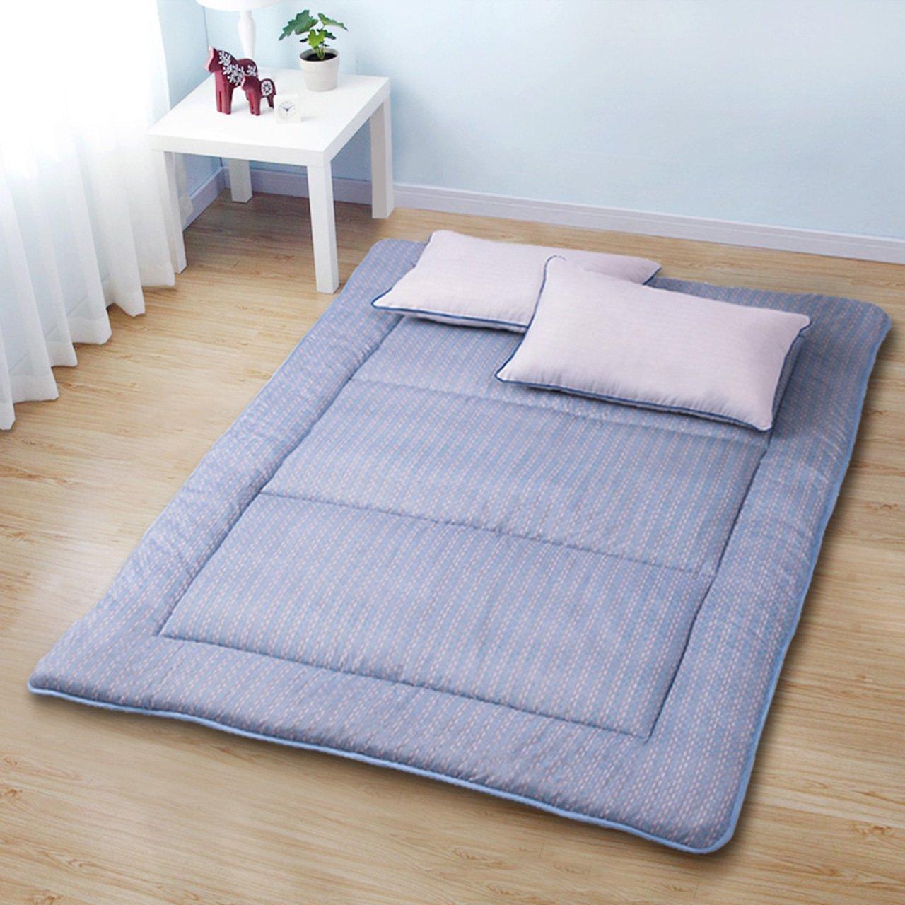 Yellow star Foldable futon mattress topper, Non-slip tatami floor mat dorm single size futon mattress topper portable sleeping pad-A 100x195cm(39x77inch)