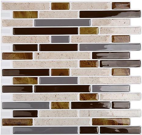 Amazon Com Magictiles 10 65 X 10 Peel And Stick Tiles Self Adhesive Vinyl Mosaic Stick Tile For Kitchen Backsplash 4 Tiles Beige Strip Home Kitchen
