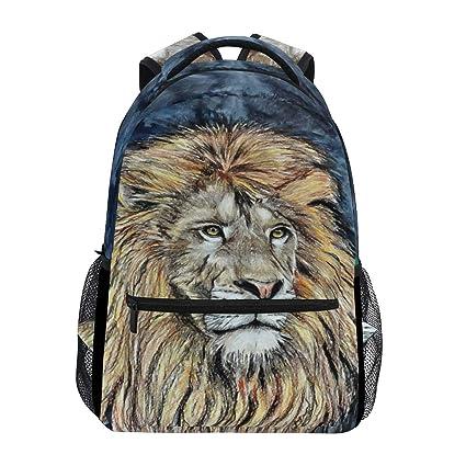 Wamika Lion King Beasts Mochila Impermeable para la Escuela, Bolsa de Hombro, Mochila para